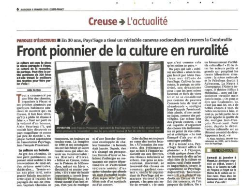 LA MONTAGNE 08/01/20 Paroles d'électeurs