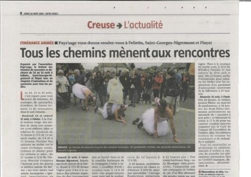 LA MONTAGNE10/08/20 Les Chemins de Rencontres 2020