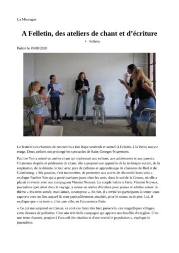 LA MONTAGNE19/08/20 Les Chemins de Rencontres 2020