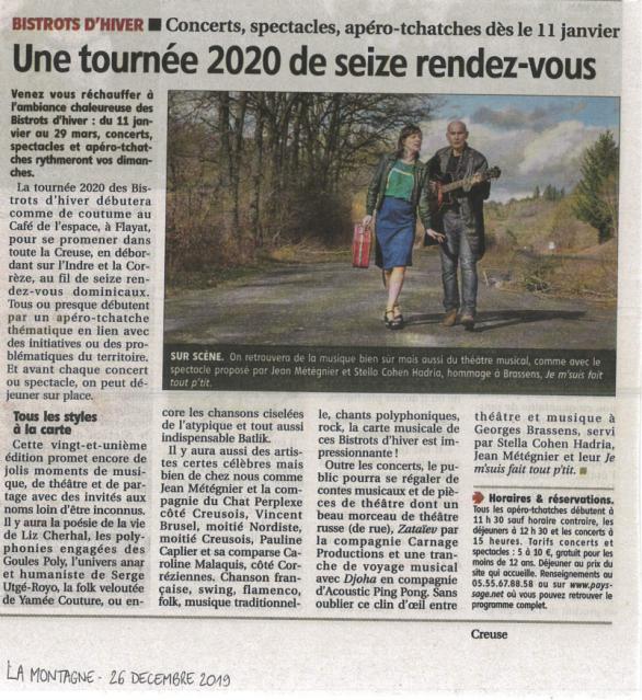 LA MONTAGNE 26/12/19 Les Bistrots d'Hiver 2020